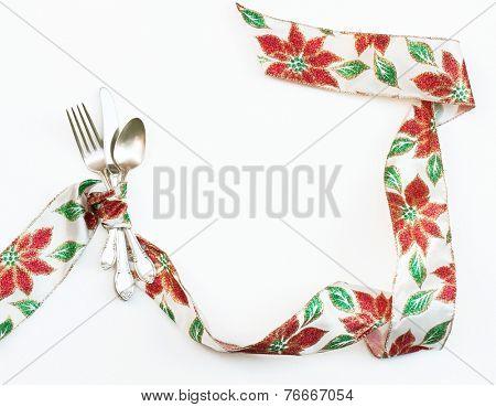 Christmas Poinsettia Ribbon Place Setting