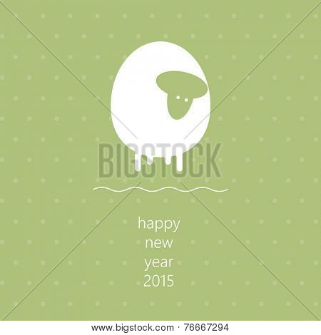 2015 New Year and Christmas vector template with cute sheep