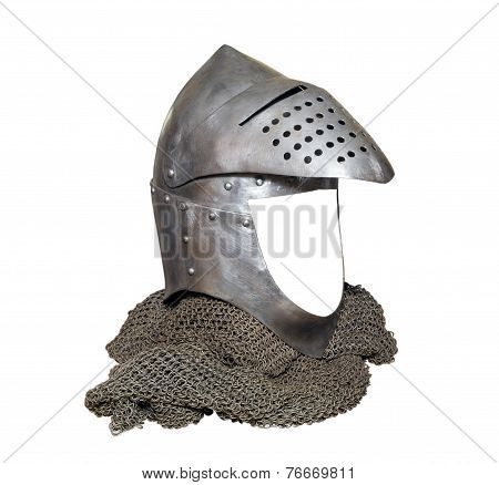 Knight Helmet With Visor Raised And Chainmail
