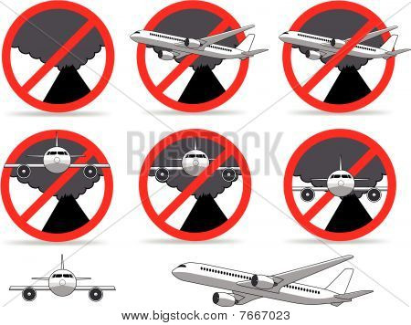 Volcanic ash cloud no fly zone sign. Illustration : Bigstock