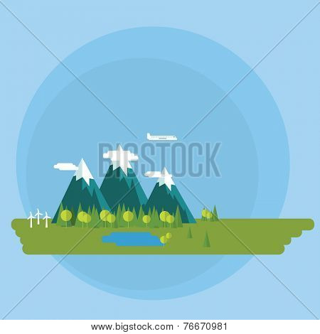 Flat design vector concept illustration - Environment, green energy background