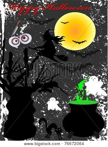 Halloween Subjects With The Moon And The Witch