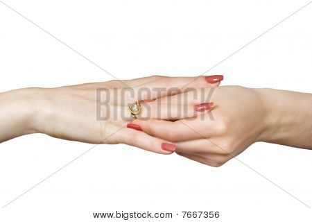 Woman Hands And Ring With A Brilliant.