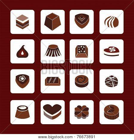 Set Icons Of Chocolate  Icons - Illustration