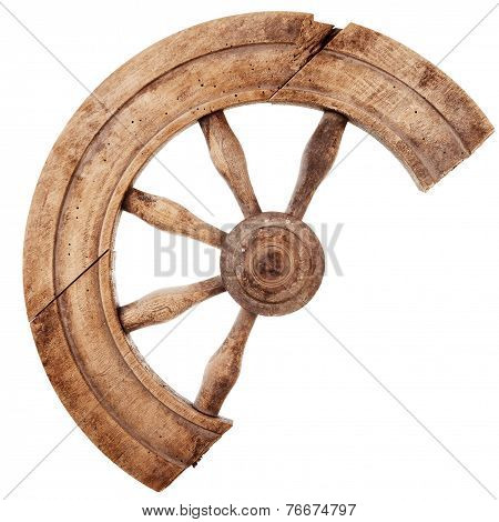 Broken Wooden Vintage Spinning Wheel