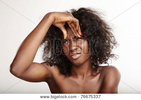 Black Woman With A First Wrinkles. Skin Problems