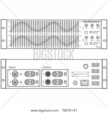 outline stereo graphic professional equalizer device