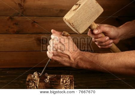Gouge Wood Chisel Carpenter Tool Hand Hammer