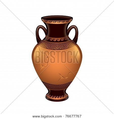 Ancient Vase Isolated On White Vector