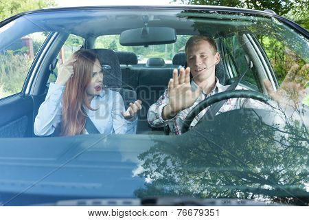 Couple In Car Having Fight