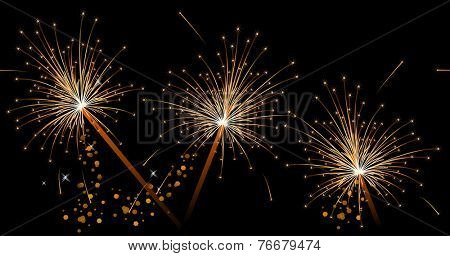 Seamless black festive pattern with sparklers. Endless texture can be used for greeting cards, invitations etc.