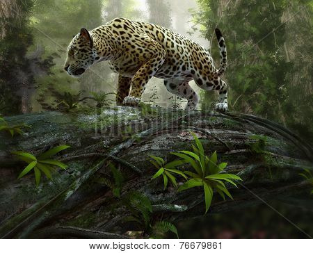 Jaguar On The Prowl, 3D Cg