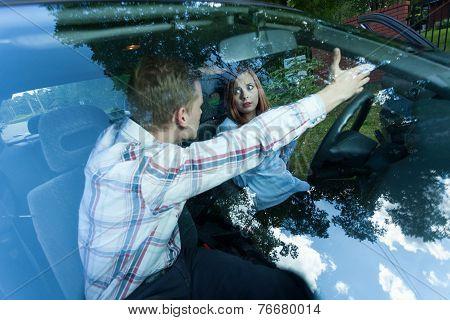 Aggressive Male Passenger In Car