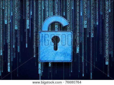 Conceptual digital image of lock on binary background