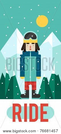 Vector pattern for your phone case with nice snowboarder, flat design