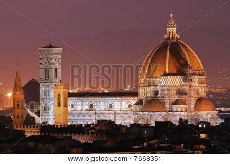 Night View of the Florence Duomo .