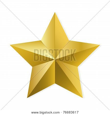 Gold Star Isolated Vector Object