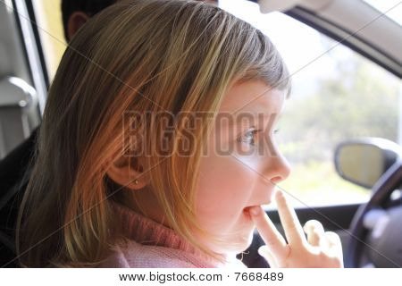 Little Girl Blond Profile Car Vehicle Interior Portrait