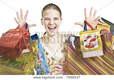 Exalted Woman With Shopping Bags