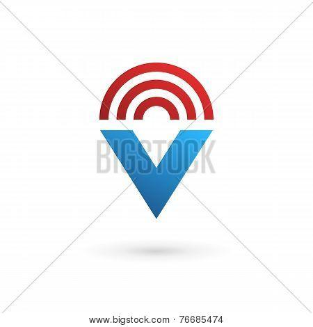 Letter V Wireless Logo Icon Design Template Elements