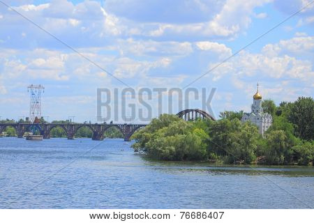 Island with cloister on the river Dniepr in Dnepropetrovsk