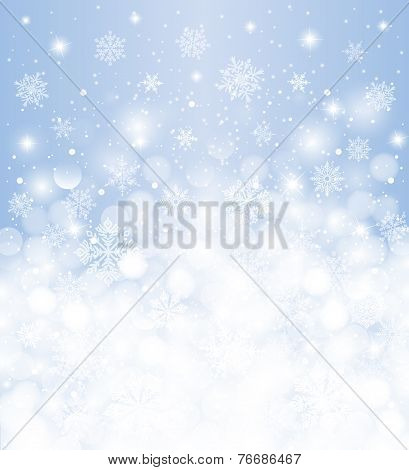 Winter background  blurred, white & red, with snowfall and copy space, for christmas card