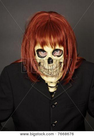 Masked Man - Skeleton In Red Wig