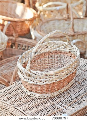 Handmade baskets for sale at a souvenir market in Romania. Traditional Romanian handmade wood basket