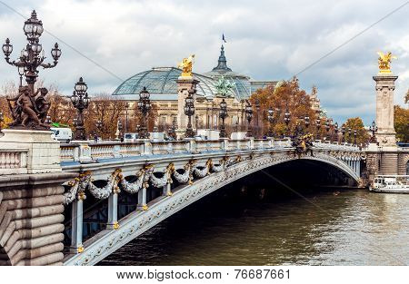 PARIS, FRANCE - NOVEMBER 18: Alexander III Bridge On River Seine in Paris, France