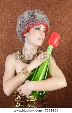 Surreal Fashion Futuristic Woman Tulip Flower