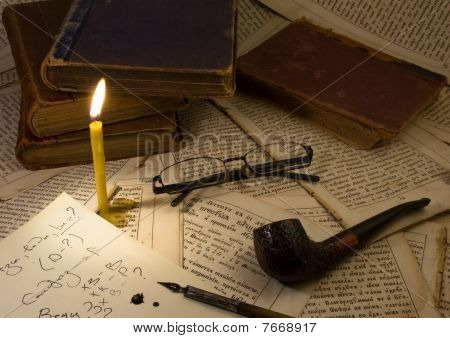 Pipe Smoking,candle, Glasses, book