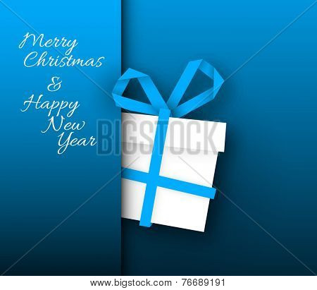 Simple blue vector christmas present box made from paper stripe - original new year card