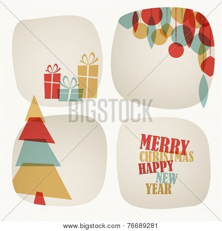 Retro Christmas card with tree, gifts decorations and place for your text
