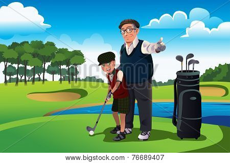 Grandfather Teaching His Grandson Playing Golf