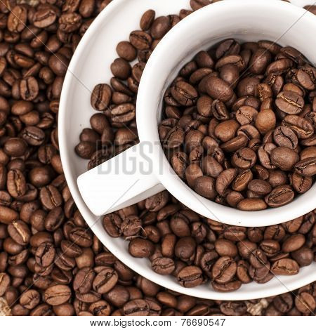 Roasted brown Coffee Beans in a cup
