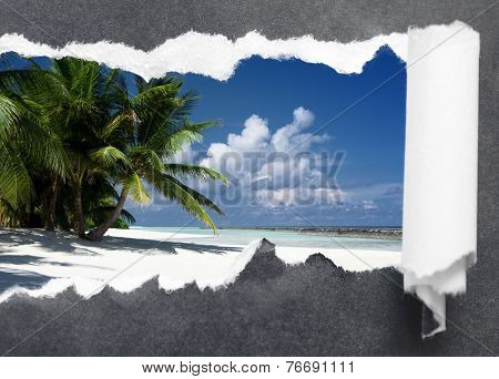 Torn grey paper edge with Maldivian beautiful landscape background