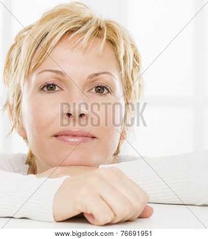 Portrait of nice, 40 years old woman