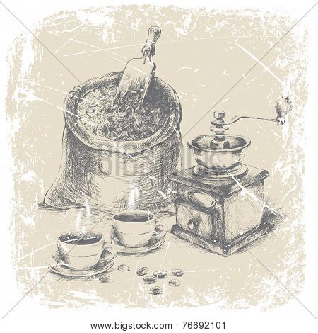 hand drawing bag of coffee, vintage coffee grinder and two cups of coffee on the table. vector illus