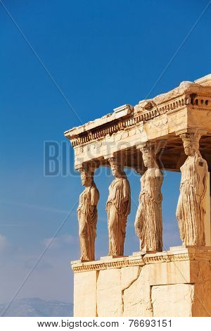 Close view of Erechtheion in summer, Athens