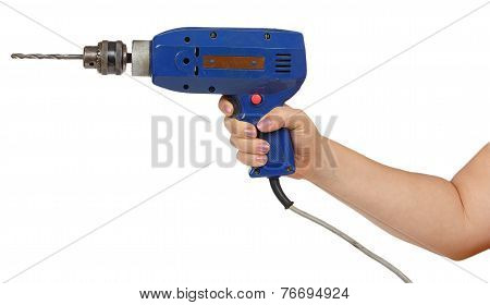 Female Hand Hold A Blue Drill