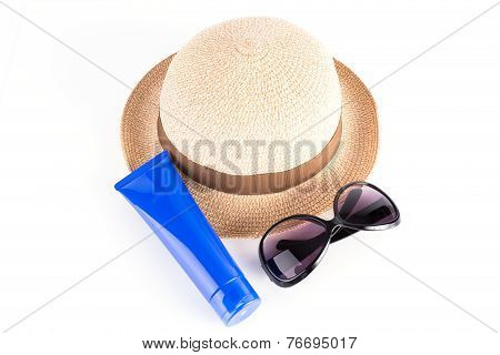 Sunglasses, Straw Hat, Sun Block Isolated On White Background