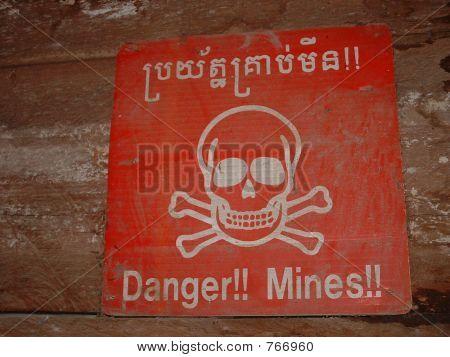 Lane Mine Warning Sign in Cambodia