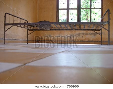 Torture Bed used in Cambodia Genocide displayed at S21 Torture Museum