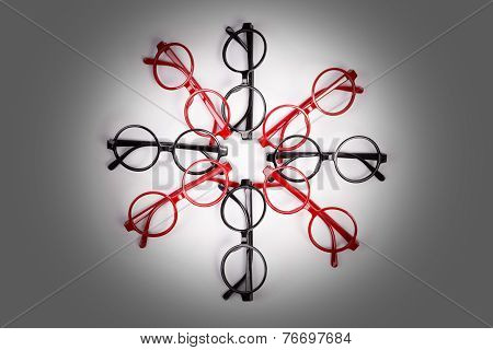 Stack Of Red And Black Glasses With Vignette