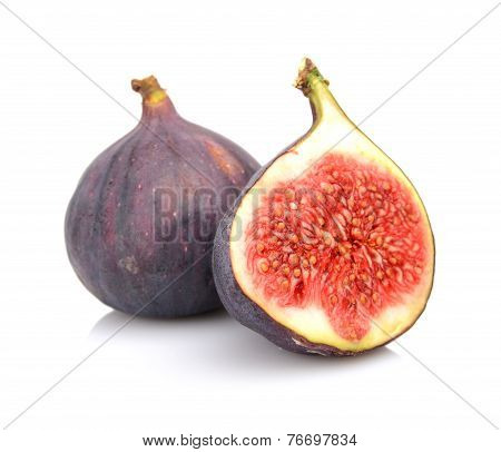 Two Sliced Figs Isolated On White Background