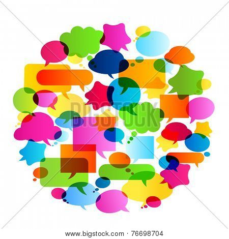 colorful bubbles speech, no transparencies