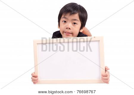 Child Showing Blank White Board For Your Copy