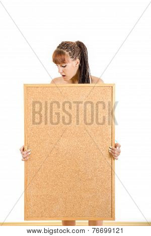 Girl Holding Empty Board With Advertising Space For Message