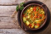 picture of vegetable soup  - Vegetable soup with mungbeen closeup on the table - JPG