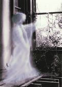 foto of banshee  - A glowing ghostly prescence points through the window of an old ruined mansion - JPG